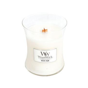 WoodWick - White Teak - świeca zapachowa - drzewa pokryte mchem - czas palenia: do 100 godzin