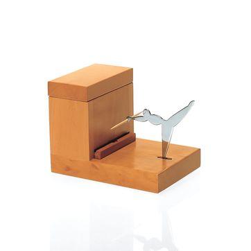 Officina Alessi - pojemnik na wykałaczki - wymiary: 12,5 x 9 cm