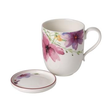 Villeroy & Boch - Mariefleur Tea - kubek z talerzykiem na torebkę herbaty - pojemność: 0,43 l