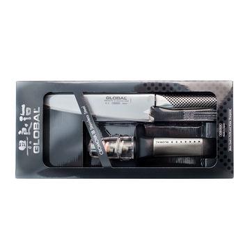 Global - G - zestaw nóż kucharza i ostrzałka wodna - długość ostrza: 20 cm