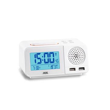 ADE - radiobudzik z funkcją ładowania telefonu - wymiary: 14,5 x 7 x 8,5 cm