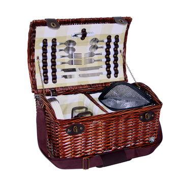 Cilio - Laveno - kosz piknikowy z wyposażeniem dla 4 osób - wymiary: 46 x 31 x 26 cm