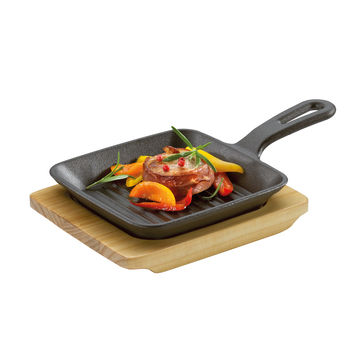 Küchenprofi - żeliwna patelnia grillowa do serwowania - wymiary: 23 x 13,5 x 5,5 cm