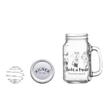 Kilner - Shake & Make - shaker do bitej śmietany - pojemność: 0,54 l
