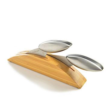 Mastrad - Axos - zestaw 2 noży - w bambusowym bloku