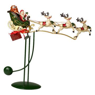 Villeroy & Boch - Christmas Toys 2019 - figurka balansująca - sanie Mikołaja - wymiary: 48 x 11,5 x 50 cm