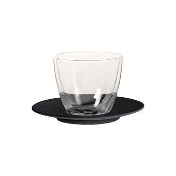 Villeroy & Boch - Manufacture Rock - szklanka do kawy z mlekiem ze spodkiem - pojemność: 0,42 l; podwójne ścianki