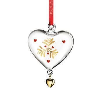 Holmegaard - Christmas - zawieszka serce - wysokość: 7 cm; borówka czerwona