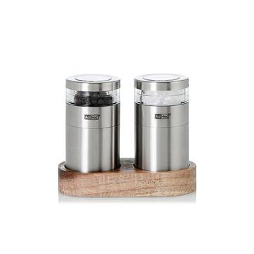 Adhoc - Menage Molto - zestaw młynków do soli i pieprzu na podstawce - wysokość: 8,5 cm