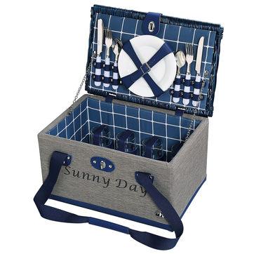 Cilio - Tenno - kosz piknikowy z wyposażeniem dla 4 osób - wymiary: 42 x 28 x 24 cm