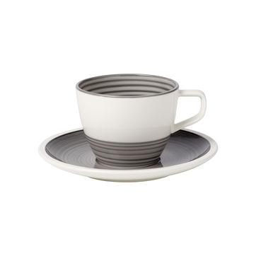 Villeroy & Boch - Manufacture gris - filiżanka do kawy ze spodkiem - pojemność: 0,25 l