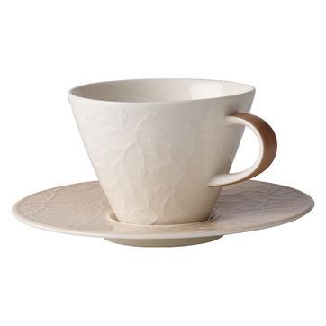 Villeroy & Boch - Caffé Club Floral Touch of Hazel - filiżanka do białej kawy ze spodkiem - pojemność: 0,39 l