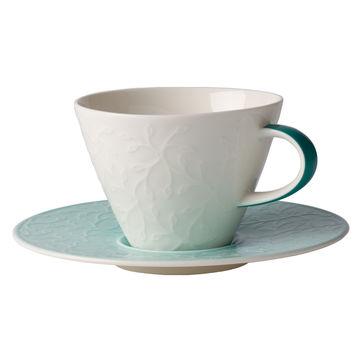 Villeroy & Boch - Caffé Club Floral Touch of Ivy - filiżanka do białej kawy ze spodkiem - pojemność: 0,39 l
