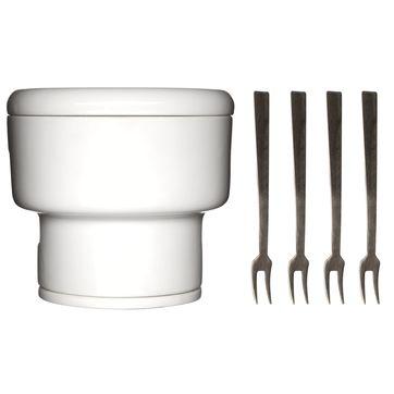 Sagaform - Oval Oak - zestaw do fondue czekoladowego - wysokość: 10,5 cm