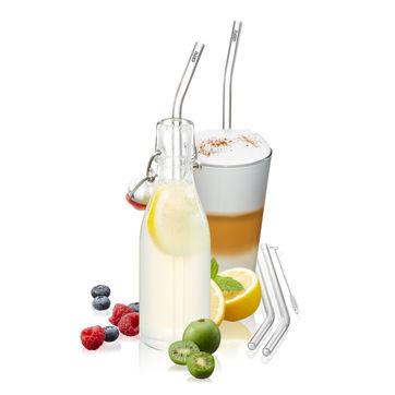 Gefu - Future - zestaw 4 szklanych słomek - długość: 23 cm