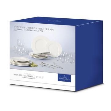 Villeroy & Boch - Wonderful World White - zestaw naczyń i sztućców - dla 4 osób; 36 elmentów