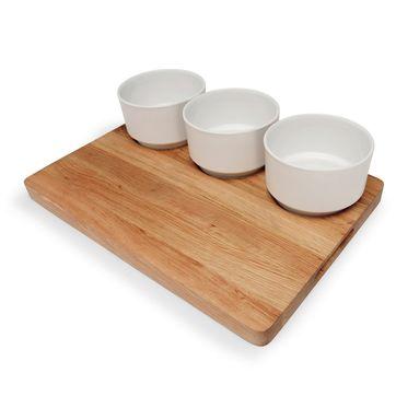 Sagaform - Oval Oak - zestaw do serwowania: dębowa deska i 3 miseczki - wymiary: 20 x 30 cm
