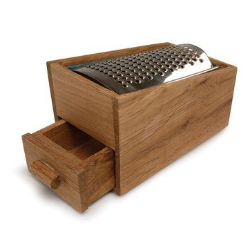 Sagaform - Oval Oak - tarka do sera z szufladką - wymiary: 14 x 9 cm