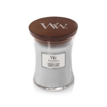 WoodWick - Lavender & Cedar - świeca zapachowa - aromatyczna lawenda - czas palenia: do 65 godzin