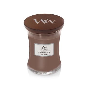 WoodWick - Stone Washed Suede - świeca zapachowa - skóra i bursztyn - czas palenia: do 65 godzin