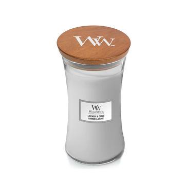 WoodWick - Lavender & Cedar - świeca zapachowa - aromatyczna lawenda - czas palenia: do 120 godzin