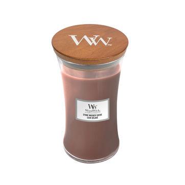 WoodWick - Stone Washed Suede - świece zapachowe - skóra i bursztyn