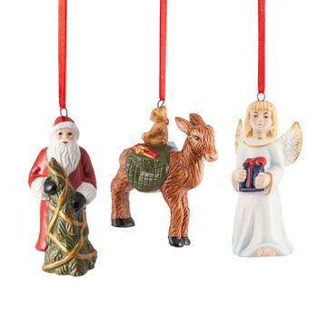 Villeroy & Boch - Nostalgic Ornaments - 3 zawieszki - pomocnicy Mikołaja - wysokość: 8 cm