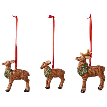 Villeroy & Boch - Nostalgic Ornaments - 3 zawieszki - rodzina jeleni - wysokość: 7 cm