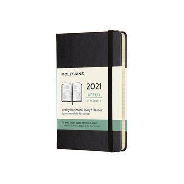 Moleskine - Classic - kalendarz tygodniowy horyzontalny - 2021 - wymiary: 9 x 14 cm; twarda oprawa