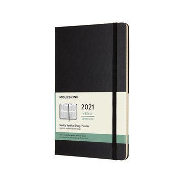 Moleskine - Classic - kalendarz tygodniowy wertykalny - 2021 - wymiary: 13 x 21 cm; twarda oprawa