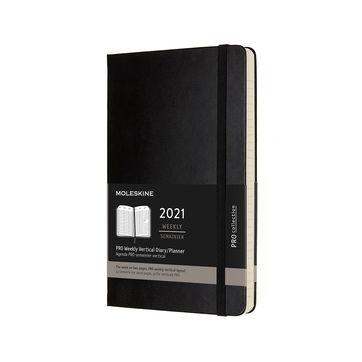 Moleskine - Pro - kalendarz tygodniowy wertykalny - 2021 - wymiary: 13 x 21 cm; twarda oprawa