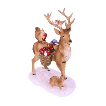 Villeroy & Boch - Winter Collage Accessoires - figurka - jeleń z prezentami - wymiary: 14,5 x 8,5 x 20 cm