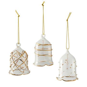 Villeroy & Boch - Winter Collage Accessoires - 3 zawieszki - dzwonki - wysokość: 6,5 cm