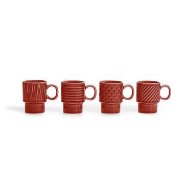 Sagaform - Coffee - zestaw 4 filiżanek do espresso - pojemność: 0,1 l
