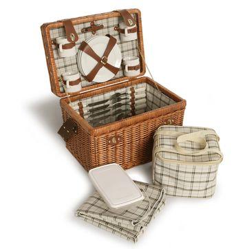 Sagaform - Picnic - wiklinowy kosz piknikowy - z wyposażeniem na piknik dla 4 osób