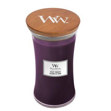 WoodWick - Velvet Tobacco - świeca zapachowa - tytoń i suszone śliwki - czas palenia: do 120 godzin