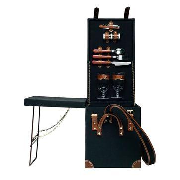 Sagaform - Picnic - kufer piknikowy z rozkładanym stolikiem - z wyposażeniem na piknik dla 2 osób