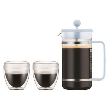 Bodum - Bistro - zestaw do kawy dla 2 osób - kafeteria tłokowa + 2 kubki o podwójnych ściankach