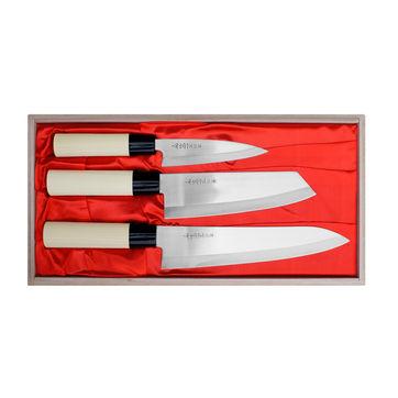 Satake - Megumi Classic - zestaw 3 noży - nóż uniwersalny, szefa kuchni i Santoku Bunka