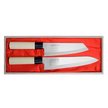 Satake - Megumi Classic - zestaw 2 noży - nóż szefa kuchni i Santoku Bunka