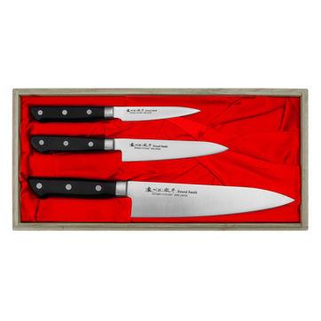 Satake - Satoru - zestaw 3 noży - nóż szefa kuchni, uniwersalny i do obierania