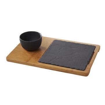 Revol - Basalt - zestaw do serwowania - wymiary: 37 x 24 cm; wymiary talerza: 20 x 20 cm