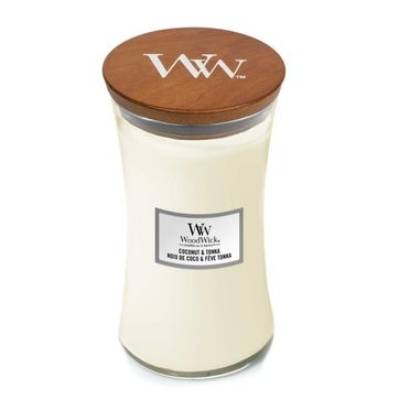 WoodWick - Coconut & Tonka - świeca zapachowa - pieczony kokos - czas palenia: do 120 godzin