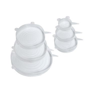 Küchenprofi - Stretch - zestaw 6 uniwersalnych pokrywek silikonowych - średnice: 6,5 + 9,5 + 11 + 14 + 15,5 + 20 cm