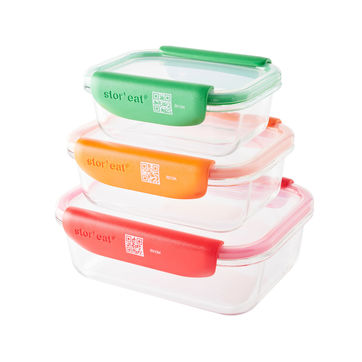 Mastrad - Stor'eat - zestaw 3 pojemników na żywność - pojemność: 0,37 l + 0,64 l + 1,04 l