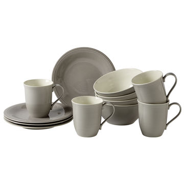 Villeroy & Boch - Color Loop Stone - zestaw śniadaniowy - dla 4 osób; 12 elementów
