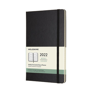 Moleskine - Classic - kalendarz tygodniowy horyzontalny - 2022 - wymiary: 13 x 21 cm; twarda oprawa