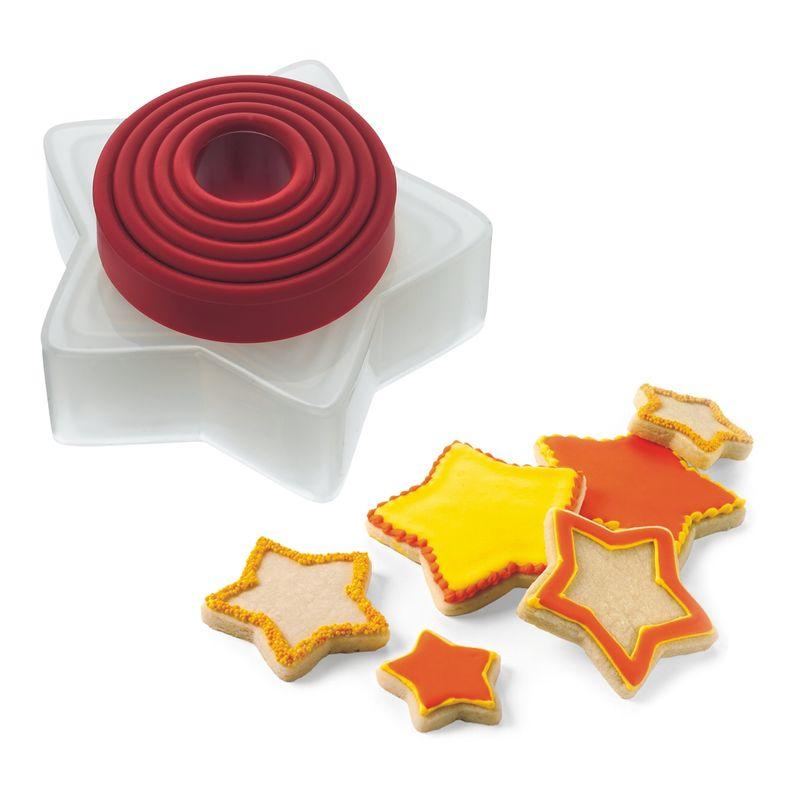 Cuisipro - foremki do ciastek gwiazdki - 5 sztuk - średnica: 5 - 10 cm