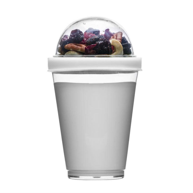 Sagaform - To Go - kubek na jogurt z pojemnikiem na musli - pojemność: 0,3 l