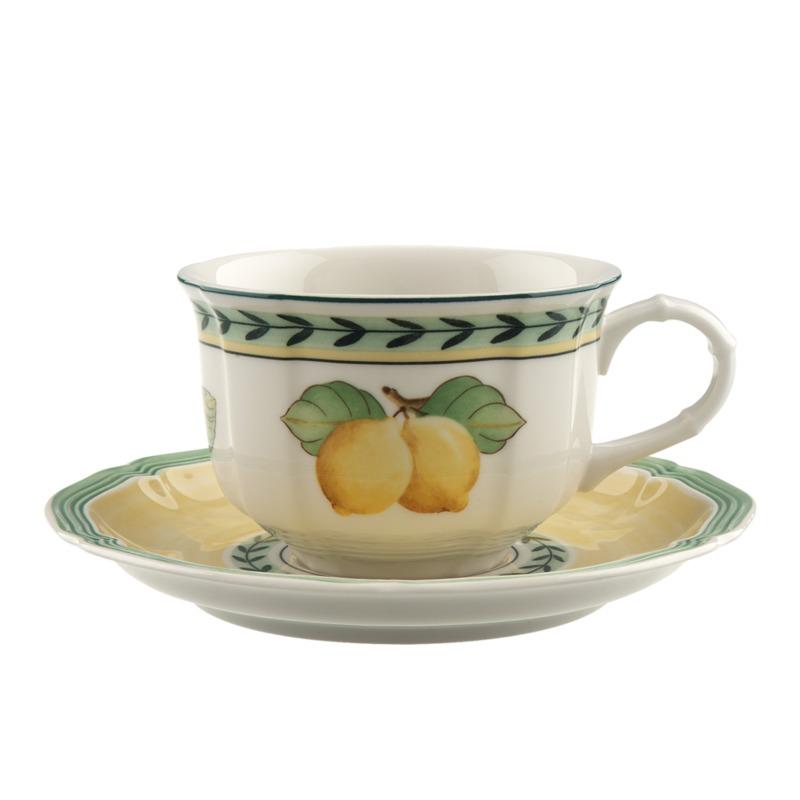 Villeroy & Boch - French Garden Fleurence - filiżanka do herbaty ze spodkiem - pojemność: 0,2 l